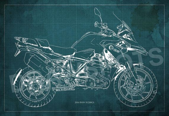 2016 bmw r1200gs blueprint art print 8x12in to 60x41in motorcycle 2016 bmw r1200gs blueprint art print 8x12in to 60x41in motorcycle art print gift for husband home decoration office decoration malvernweather Gallery