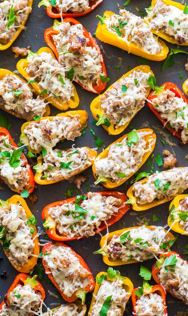 Sausage Stuffed Mini Sweet Peppers Appetizer Recipe These Stuffed Mini Sweet Peppers Are The Perfe Sweet Pepper Recipes Stuffed Sweet Peppers Stuffed Peppers