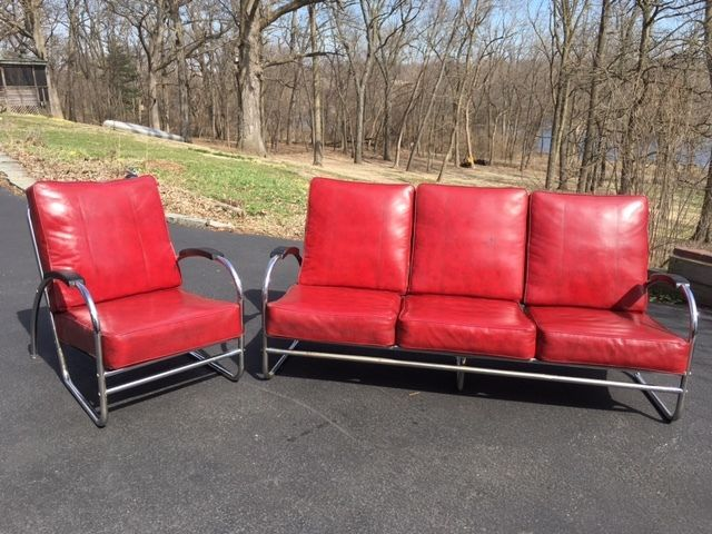 Vintage Art Deco Chrome Vinyl Couch And Chair