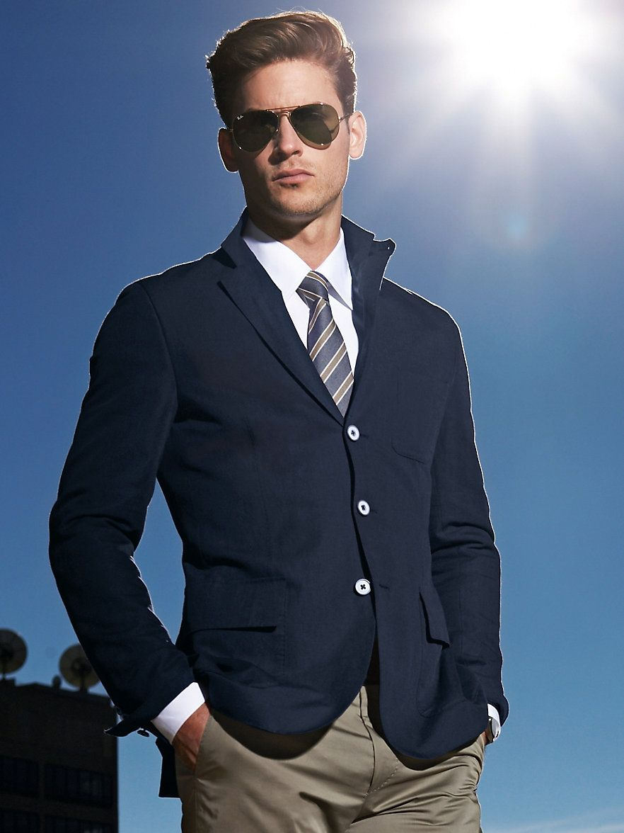 Men's Fashion | Men's Casual Look | Navy Blue Blazer with White ...