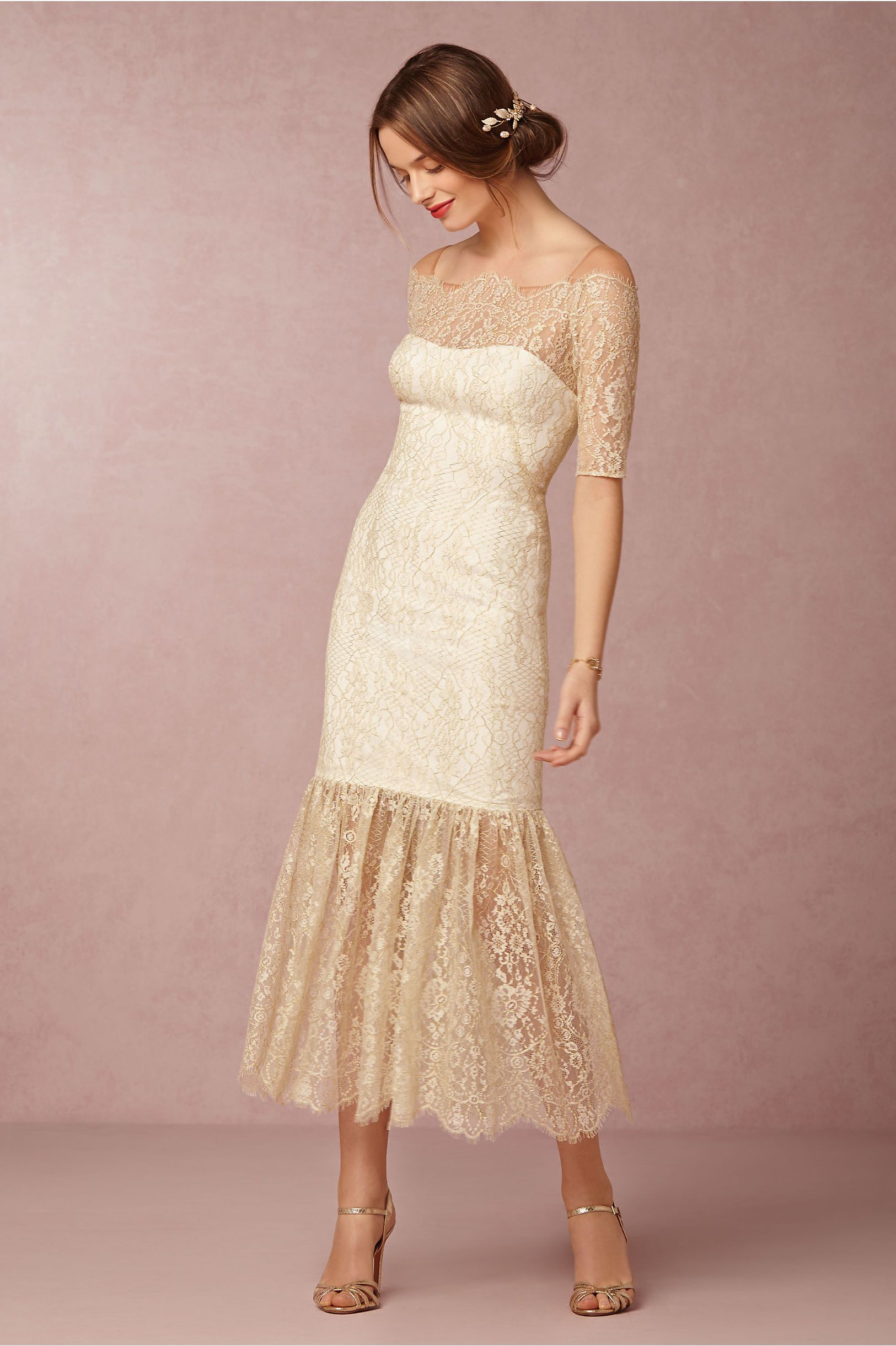 gold lace wedding dress | Mia Dress from Notte by Marchesa for ...