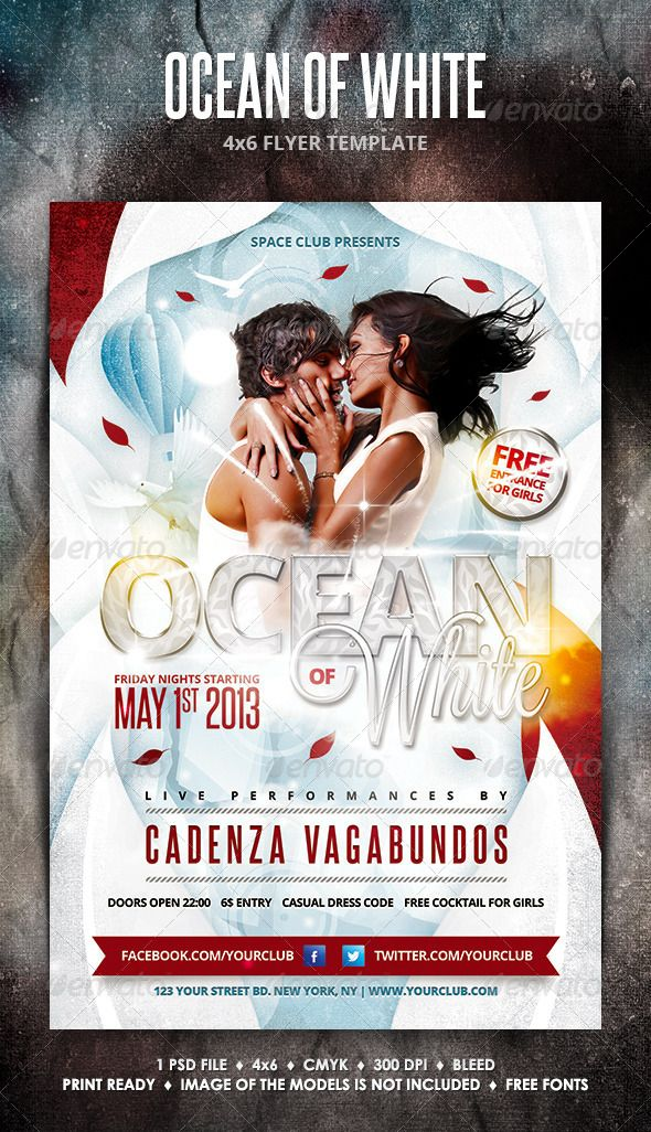 Ocean Of White Party Flyer  Party Flyer Flyer Template And Template