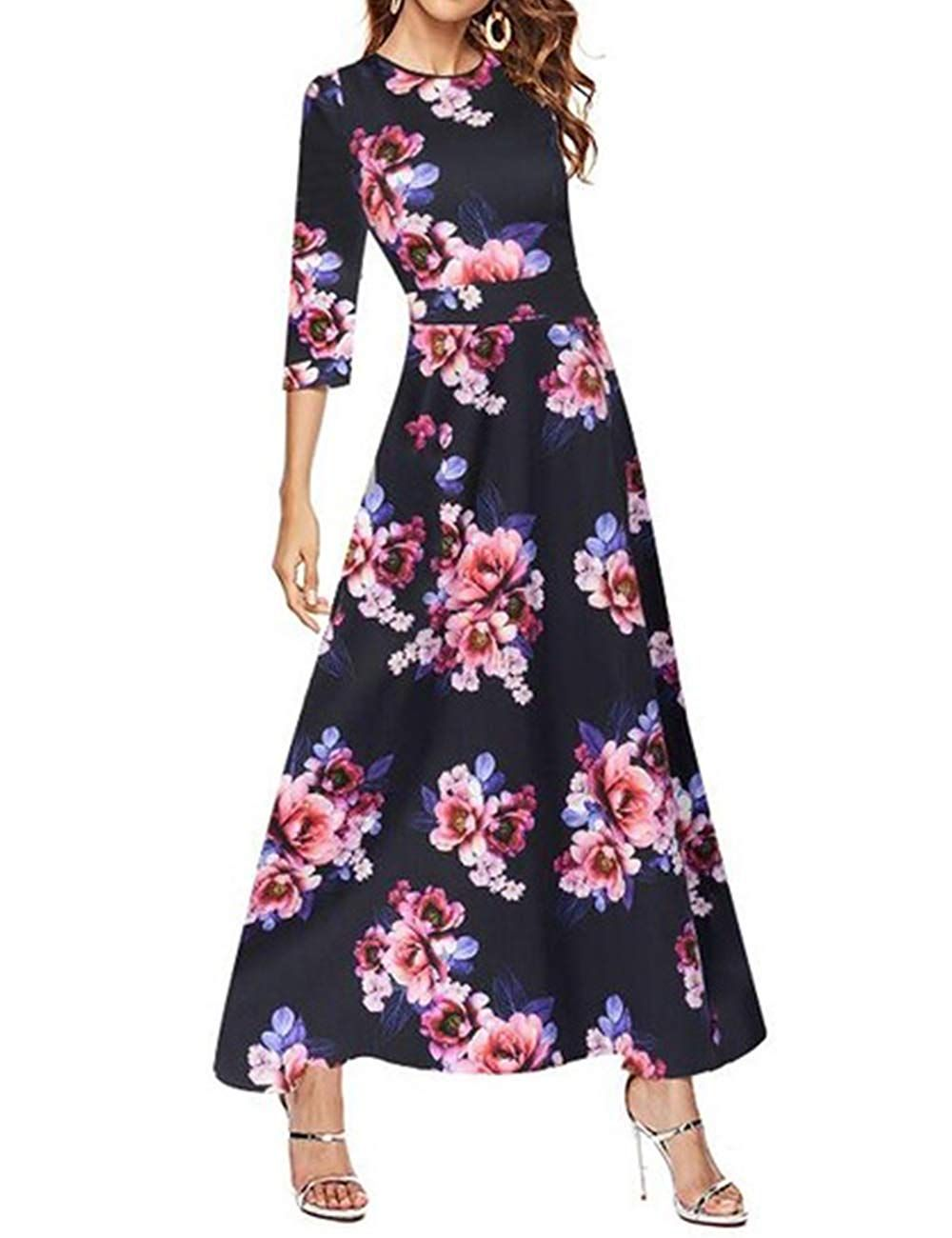 Simple Flavor Women S 3 4 Sleeve Vintage Floral Print Maxi Dress At Amazon Women S Clothing Store Floral Print Maxi Dress Maxi Dress Dresses [ 1300 x 1000 Pixel ]