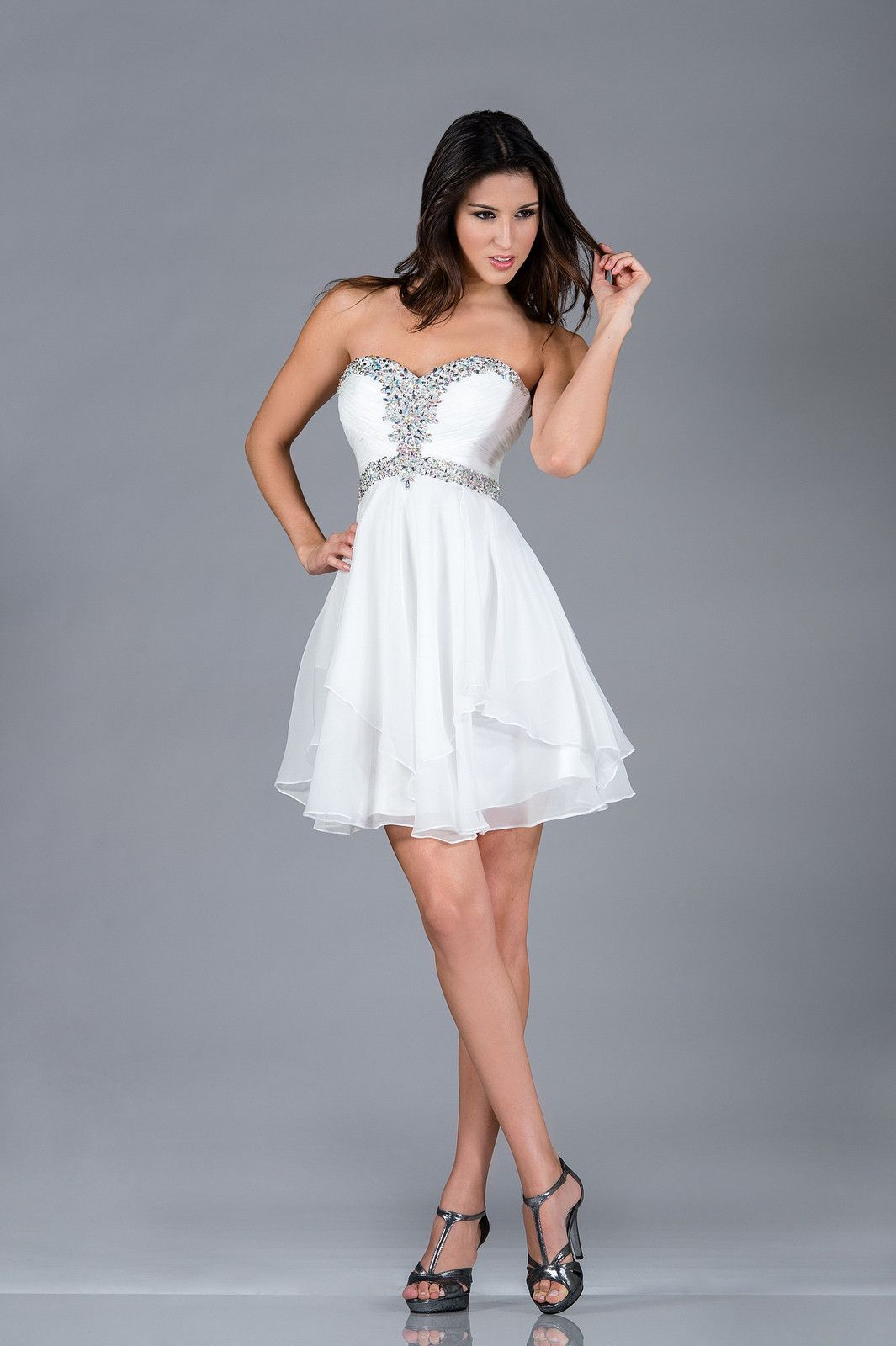 Mini white wedding dress  Mini Short Strapless Off White Pleated Layered Cocktail Party Dress