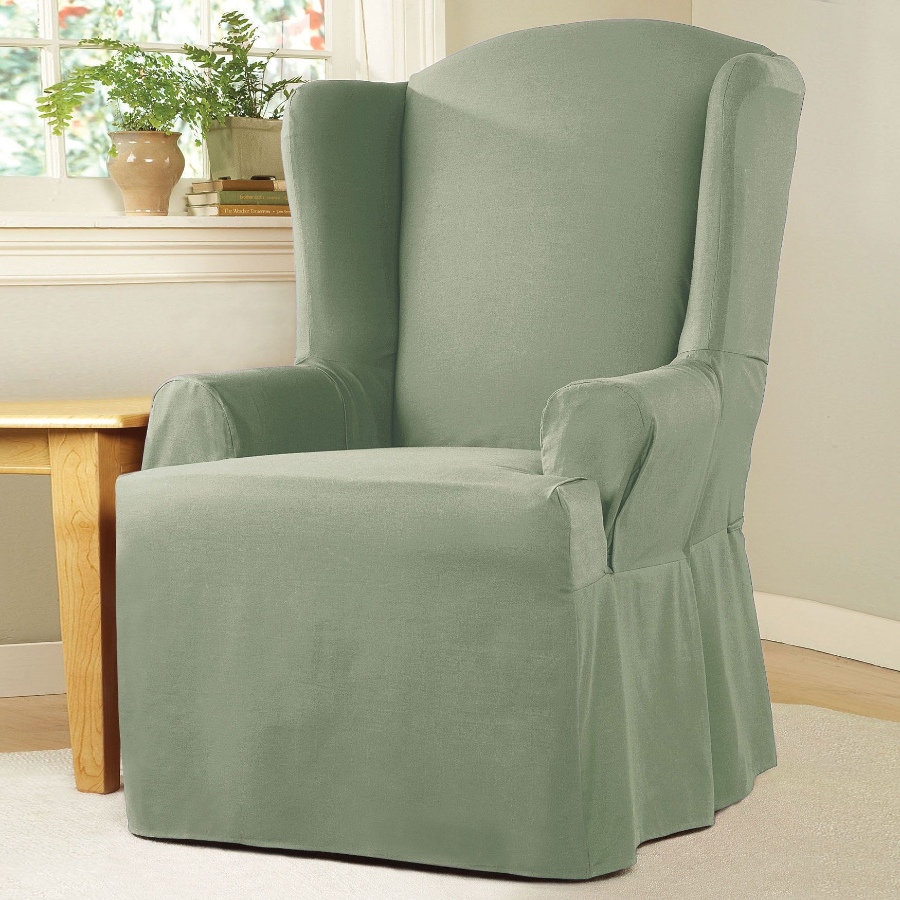 Cotton Duck Wing Chair Slipcover, Fits Up To 42u0027u0027 Back Height | Wing
