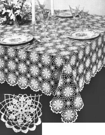 Summer Snowflake Motif Tablecloth Vintage Crochet Pattern For