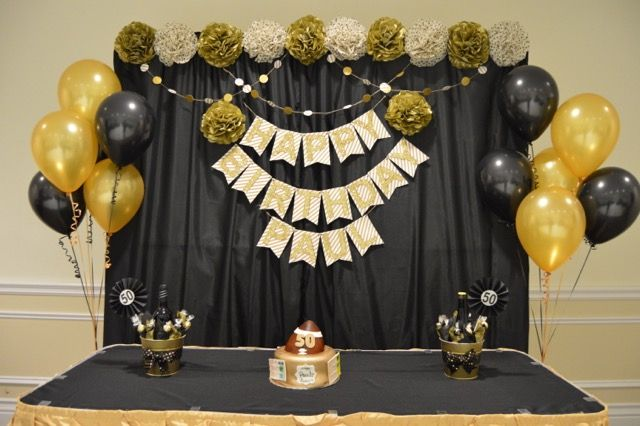 Black Gold Themed 50th Birthday Party Backdrop Details Party