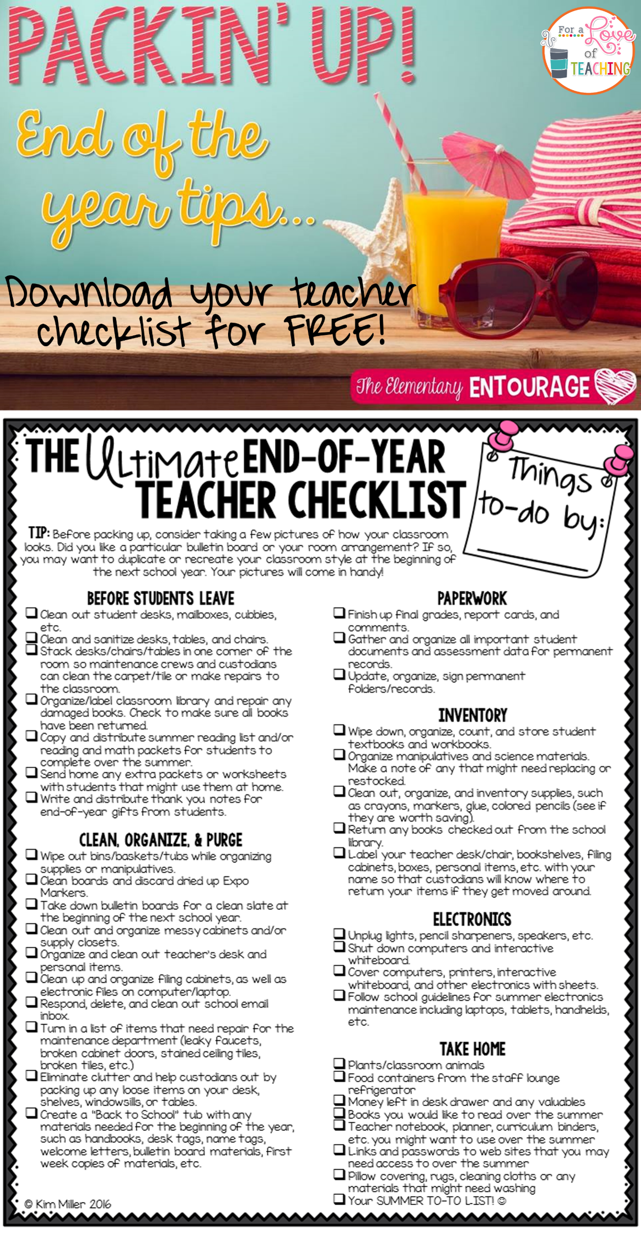 The Ultimate End Of Year Teacher Checklist  Keep Yourself