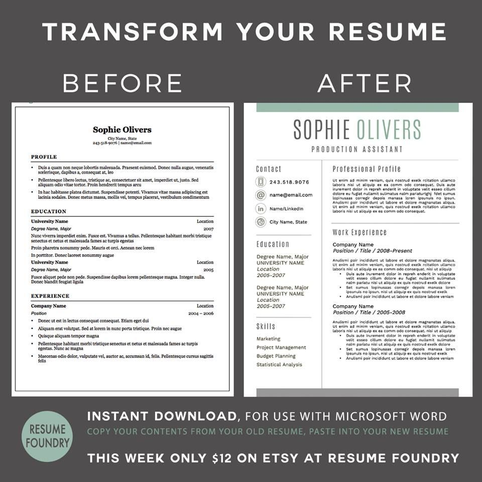 This Item Is Unavailable Etsy Resume Template Ideas Of Resume Template Resumetemplate Transform Your Old Res In 2020 Resume Tips Job Interview Tips Job Resume
