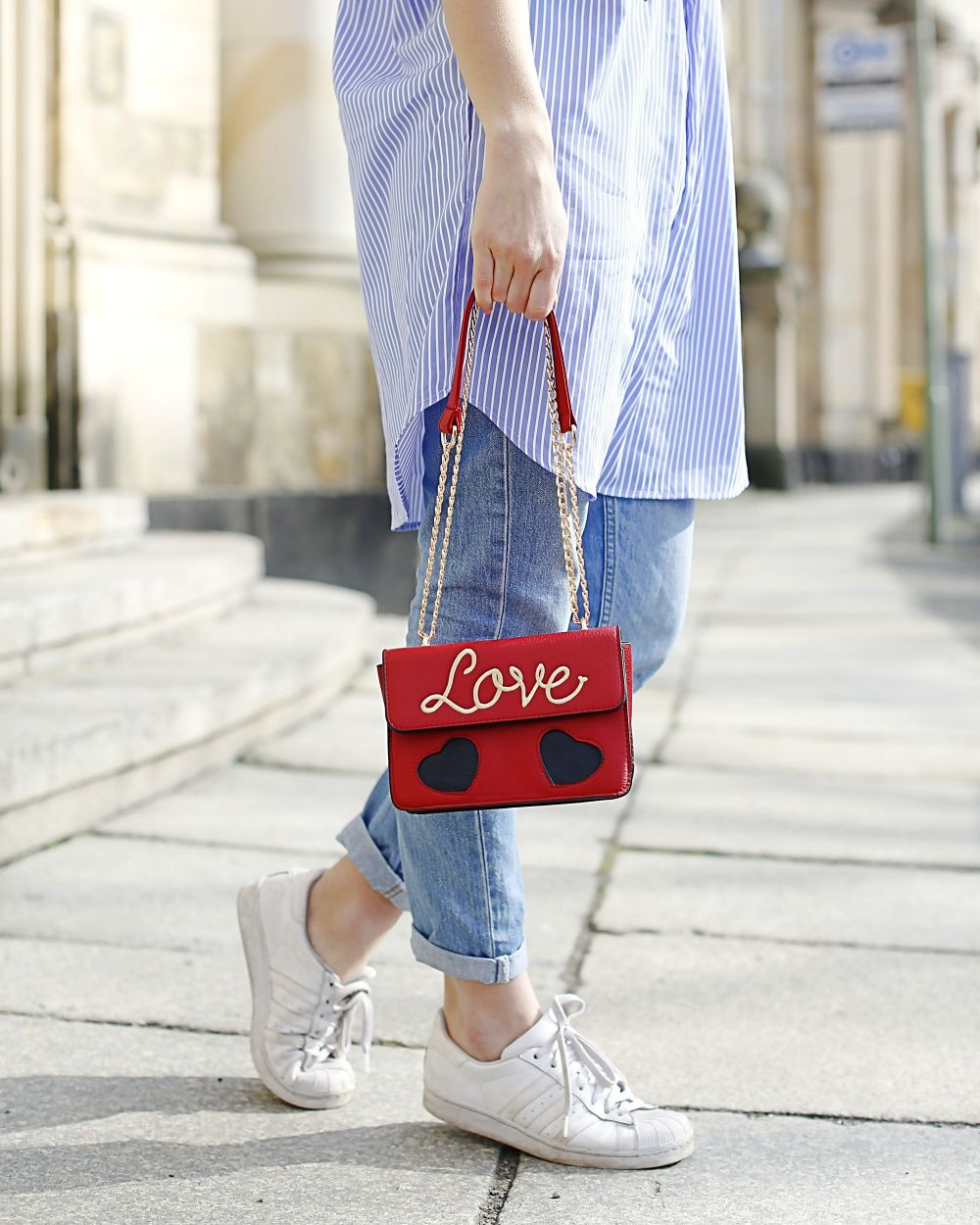 7d0a14049e embroidered shirtdress shirt striped rose roses embroidery trend romwe dress  love bag red colorful sassy classy