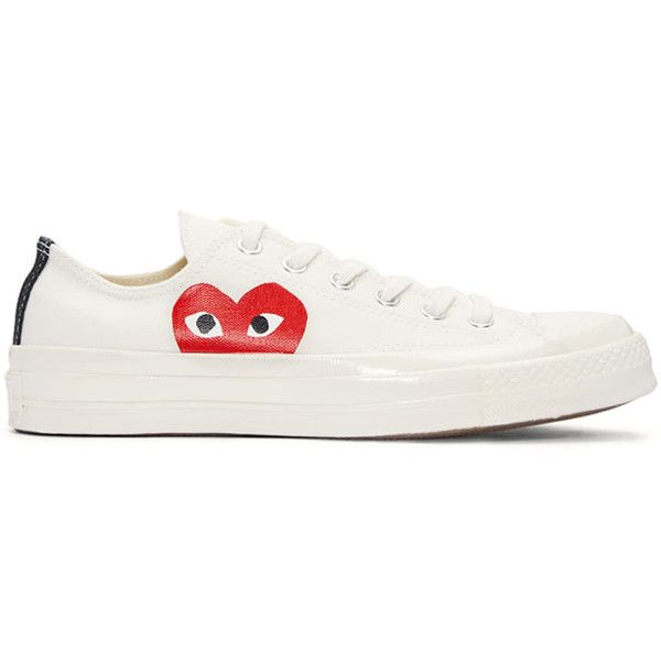 Comme des Garçons Play Ivory Half Heart Converse Edition Sneakers ( 120) ❤  liked on Polyvore featuring shoes, sneakers, lacing sneakers, lace up shoes,  ... 22951b2a957