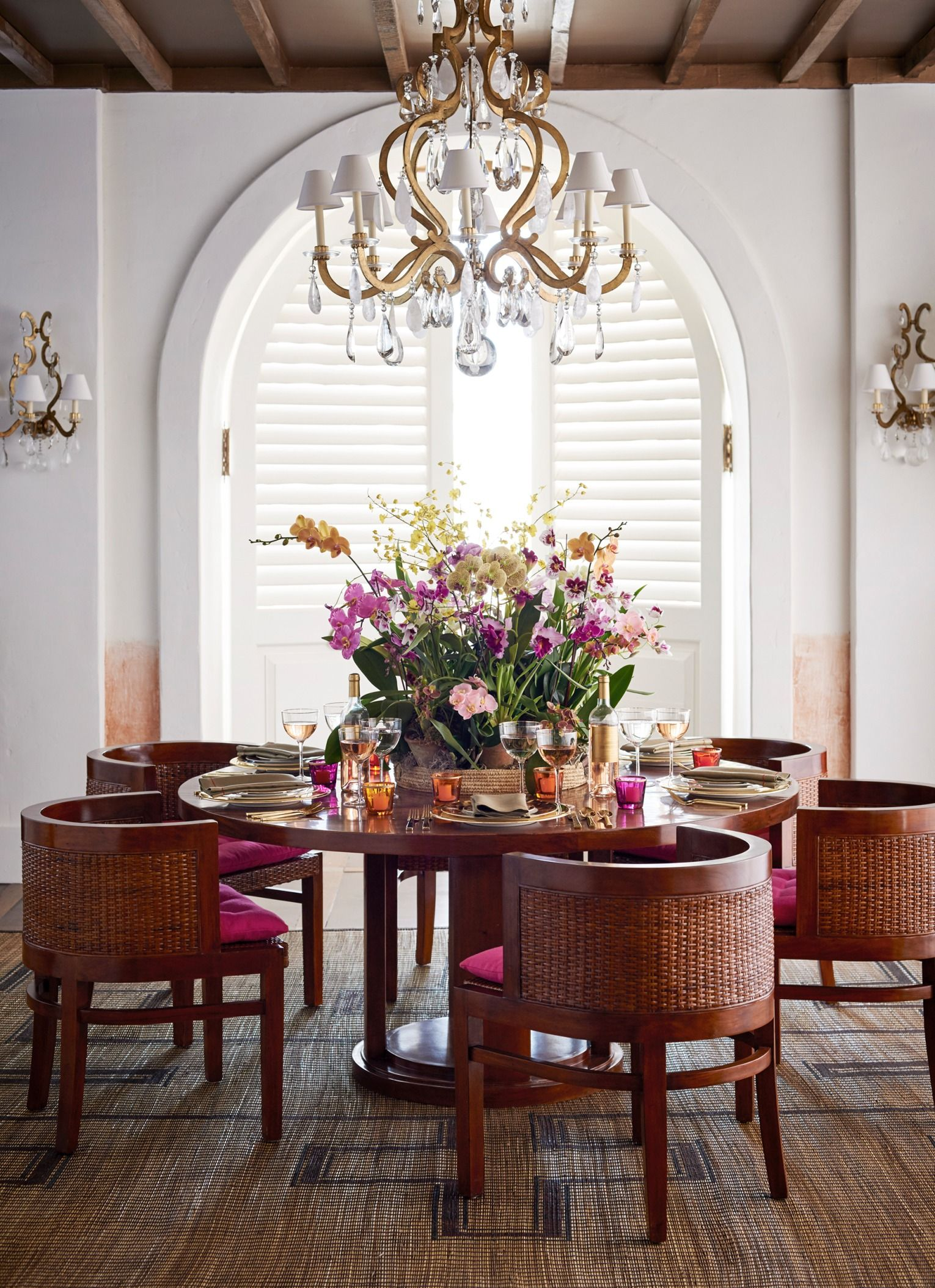 The Ralph Lauren Home Modern Sands Dining Table And Chairs Under Marie Chandelier