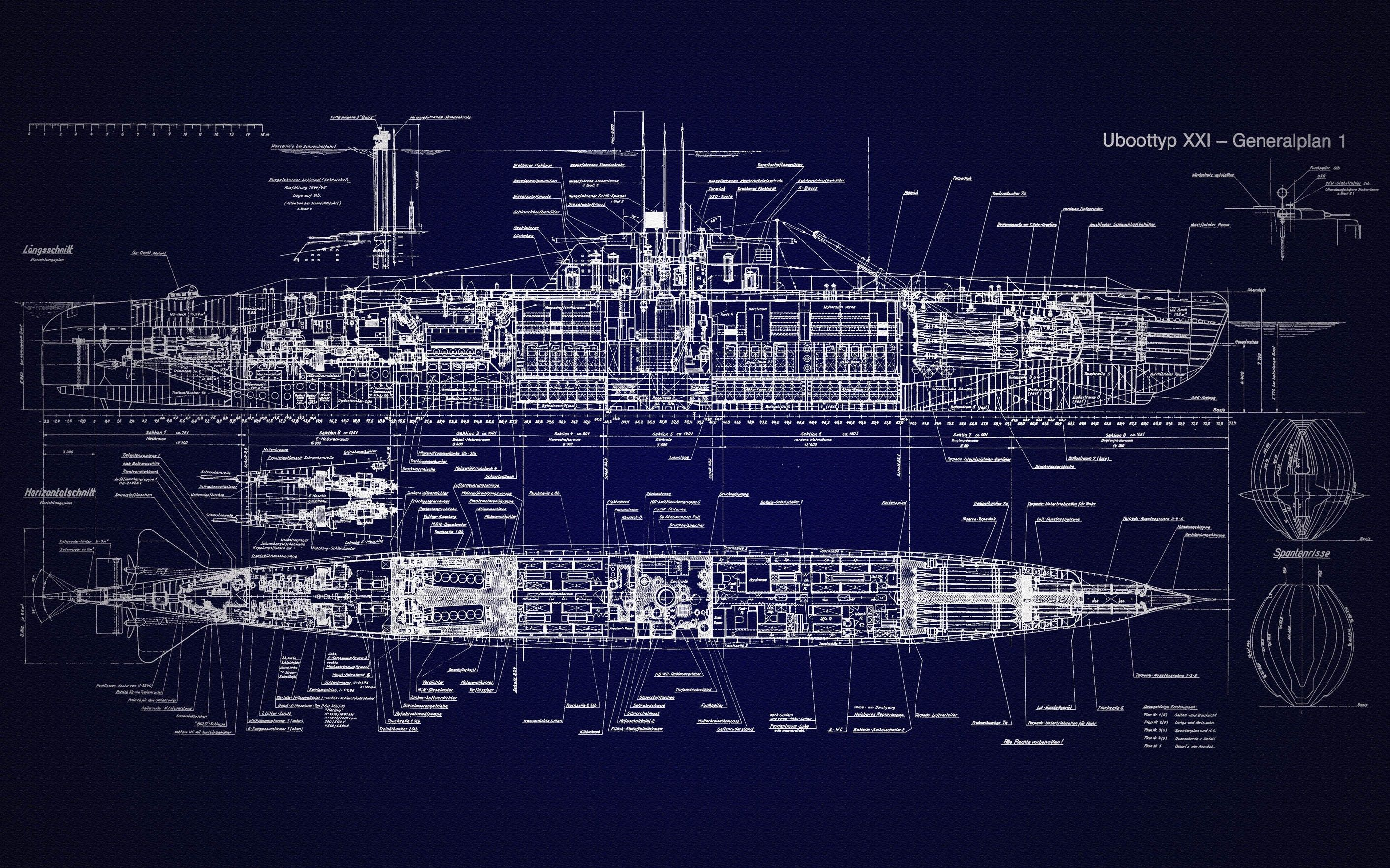 blueprints, #submarine, #u-boat, #type xxi, #schematic