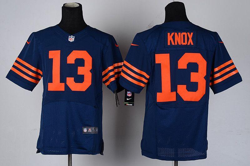 Men's Nike NFL Chicago Bears #13 Johnny Knox Dark Blue Elite ...