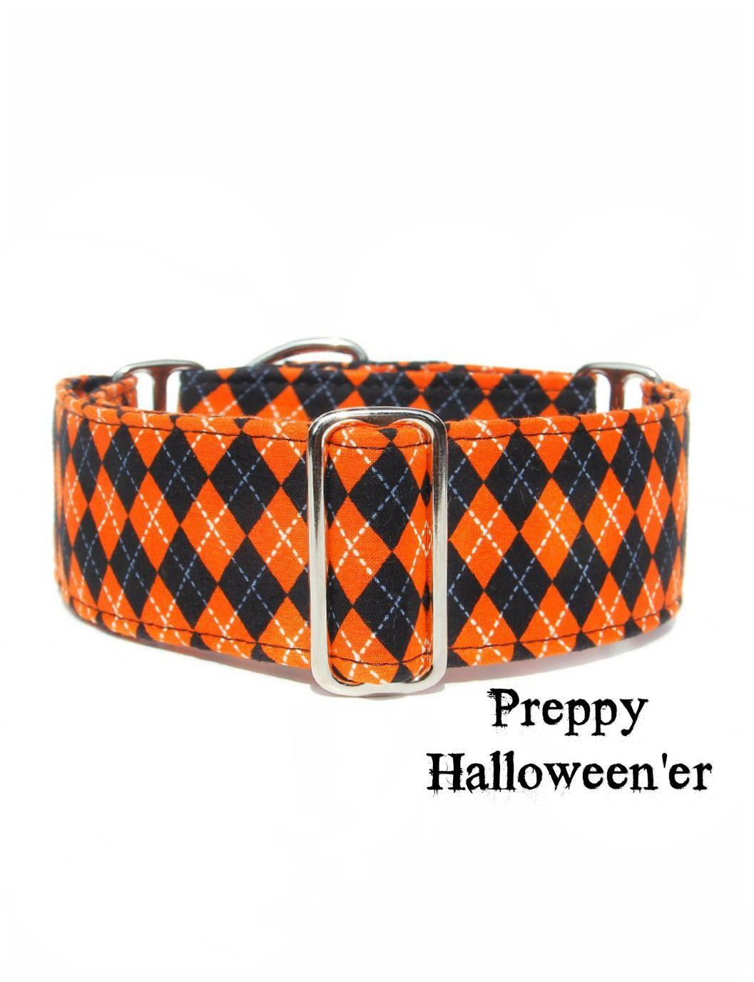 Halloween argyle dog collar by