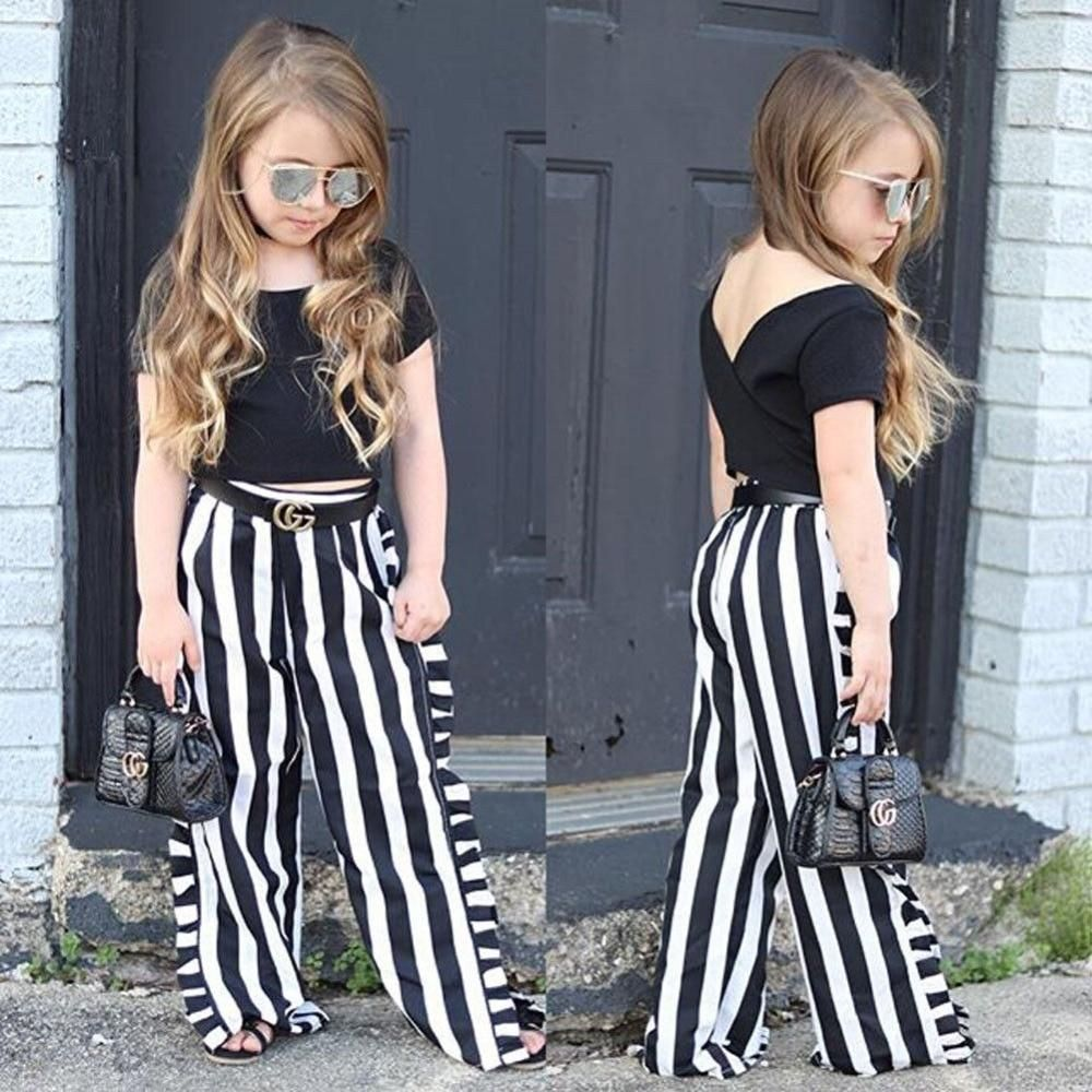 Wide Leg Pants Leggings 2 Pieces Summer Clothes Toddler Kid Girls Fashion Off Shouler Outfit Ruffle Top