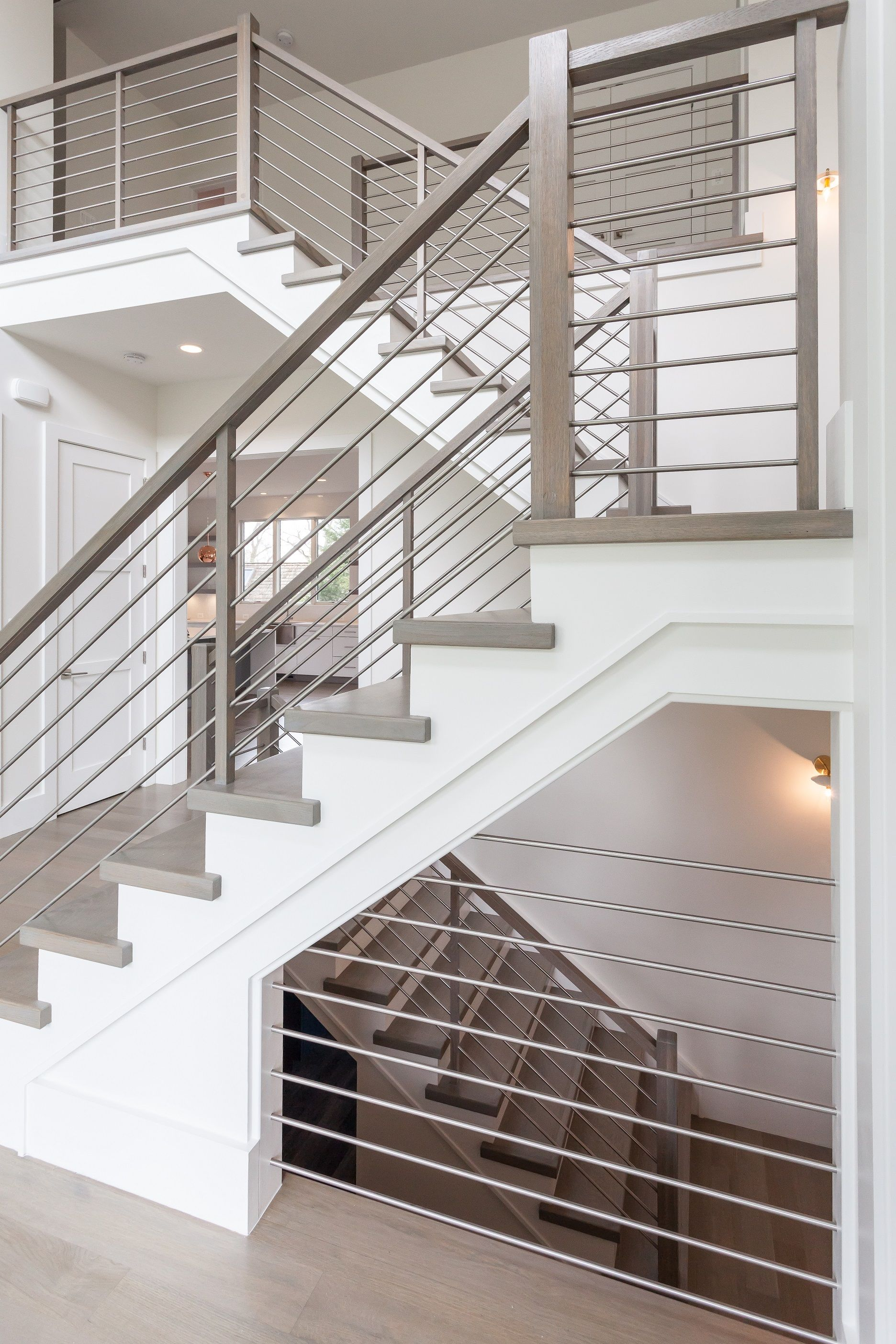 Contemporary Staircase In Entry With Modern Horizontal Stainless Steel Railing In Custom H Staircase Design Modern Stainless Steel Stair Railing Modern Railing