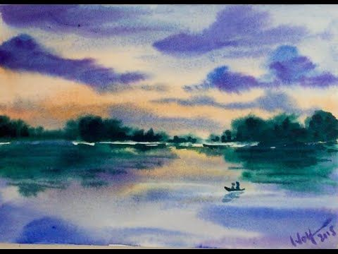 Watercolor Sunset Reflection Demonstration Youtube Watercolor