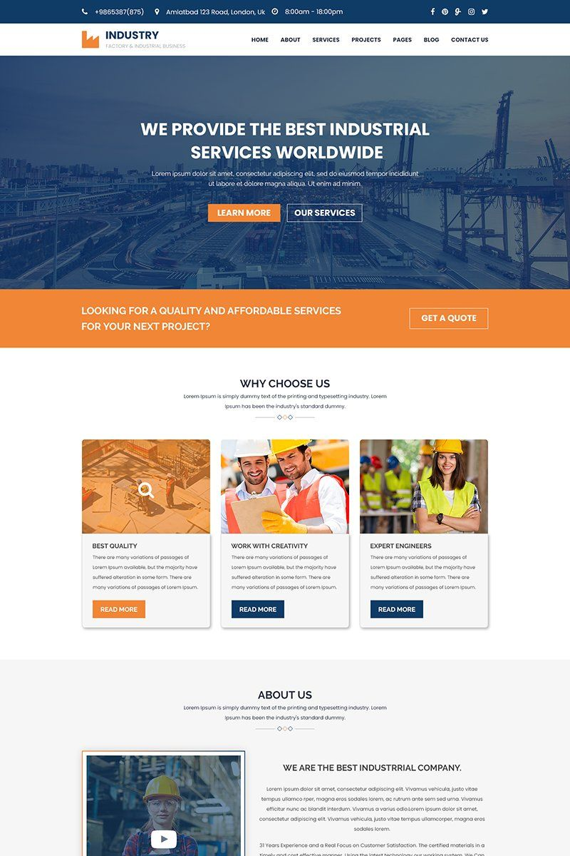 Industry Factory Construction Industrial Psd Template Psd Templates Web Design Tips Website Design