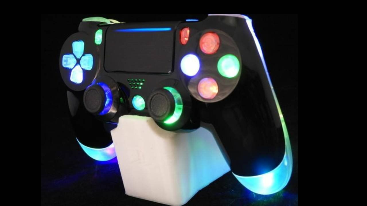 Custom Controller Ps4 Led Mod Gamepad With Rgb Slow Led Gloss Black On Translucent Shell Ps4 Controller Ps4 Controller Custom Ps4