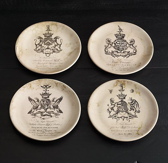 18Th C. English Armorial Crest Cocktail Plates (Set of 4)