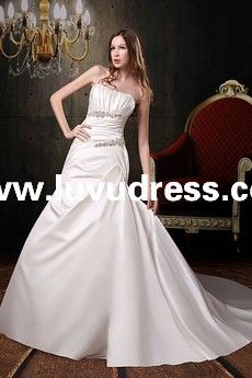 Satin Strapless Neckline Asymmetrical Pleated Bodice A-Line Style with Plain Chapel Train A-Line A-Line Wedding Dress WG-0011