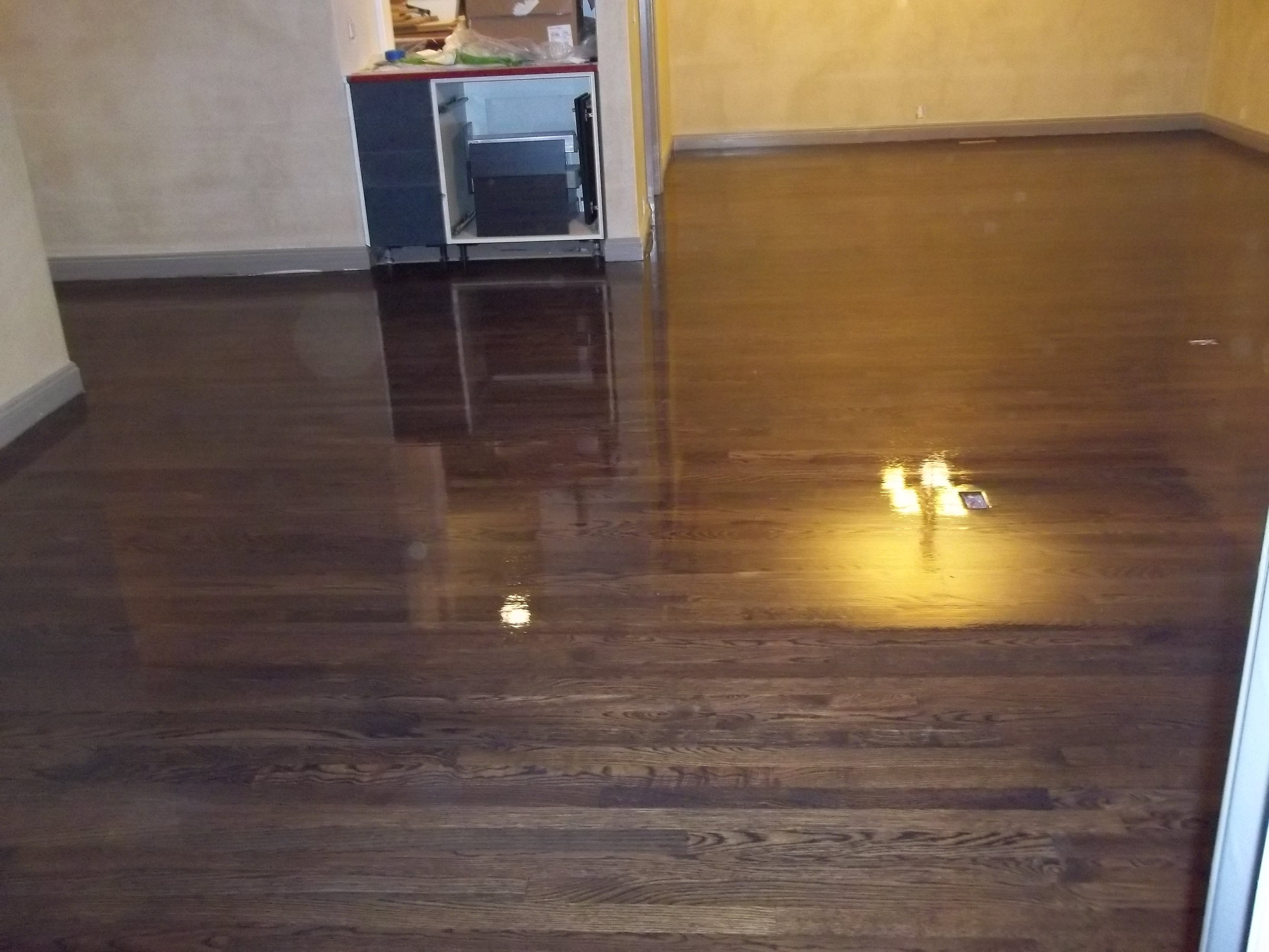 Red Oak Wood Floor Refinished With Duraseal Ebony Stain And Water Based Finish Red Oak Wood Floors Oak Wood Floors Red Oak Wood