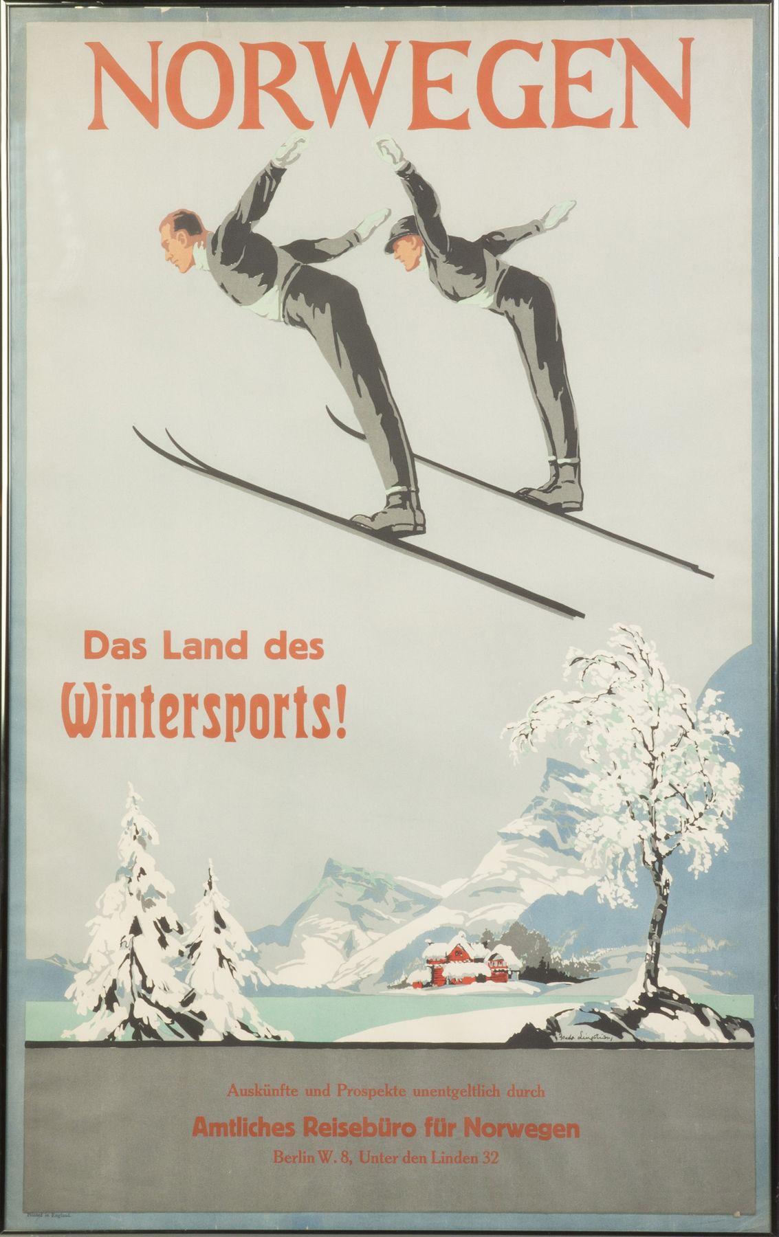 Norwegian Ski Poster By Freda Lingstrom Sold 3 200 Vintage Posters Noorwegen Poster