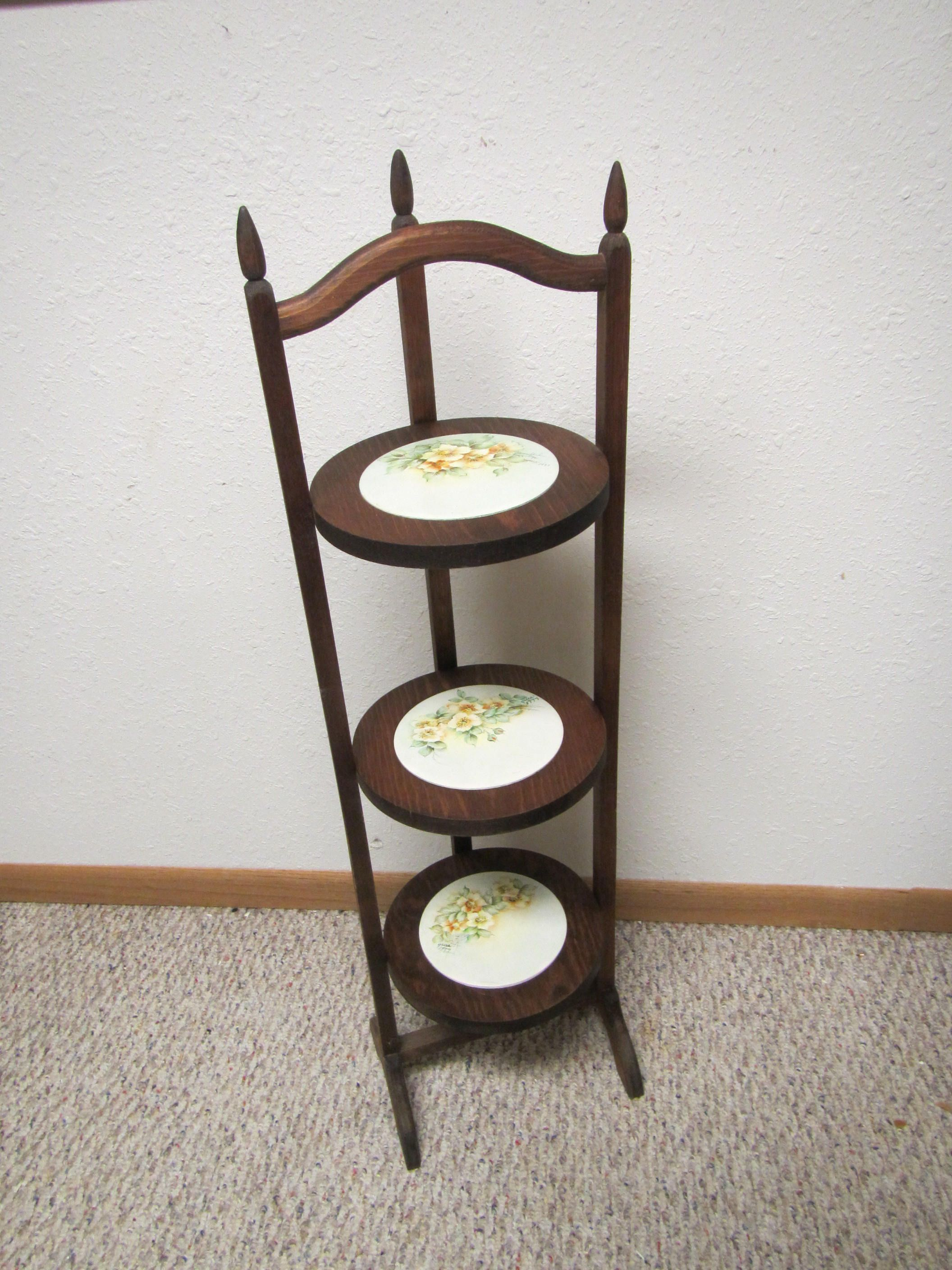 Vintage Folding Pie Stand Rack Plant Display Shelf 3