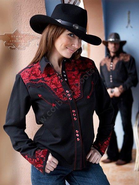 5229e1a957 Un espectáculo para la vista  camisa vaquera Stars and Stripes para mujer  con bordados en pecho