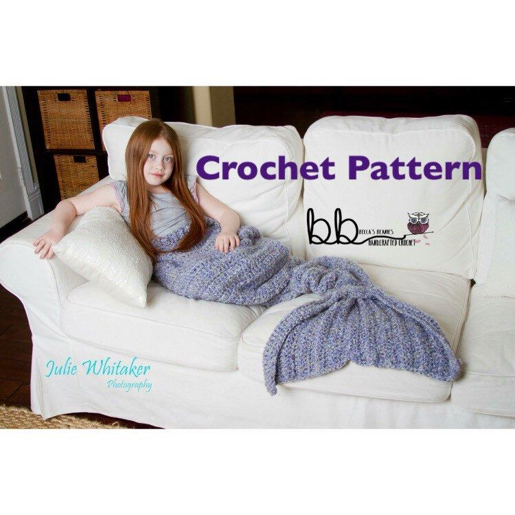 Mermaid Tail Blanket - PATTERN ONLY - Crochet - Child and Adult Size ...