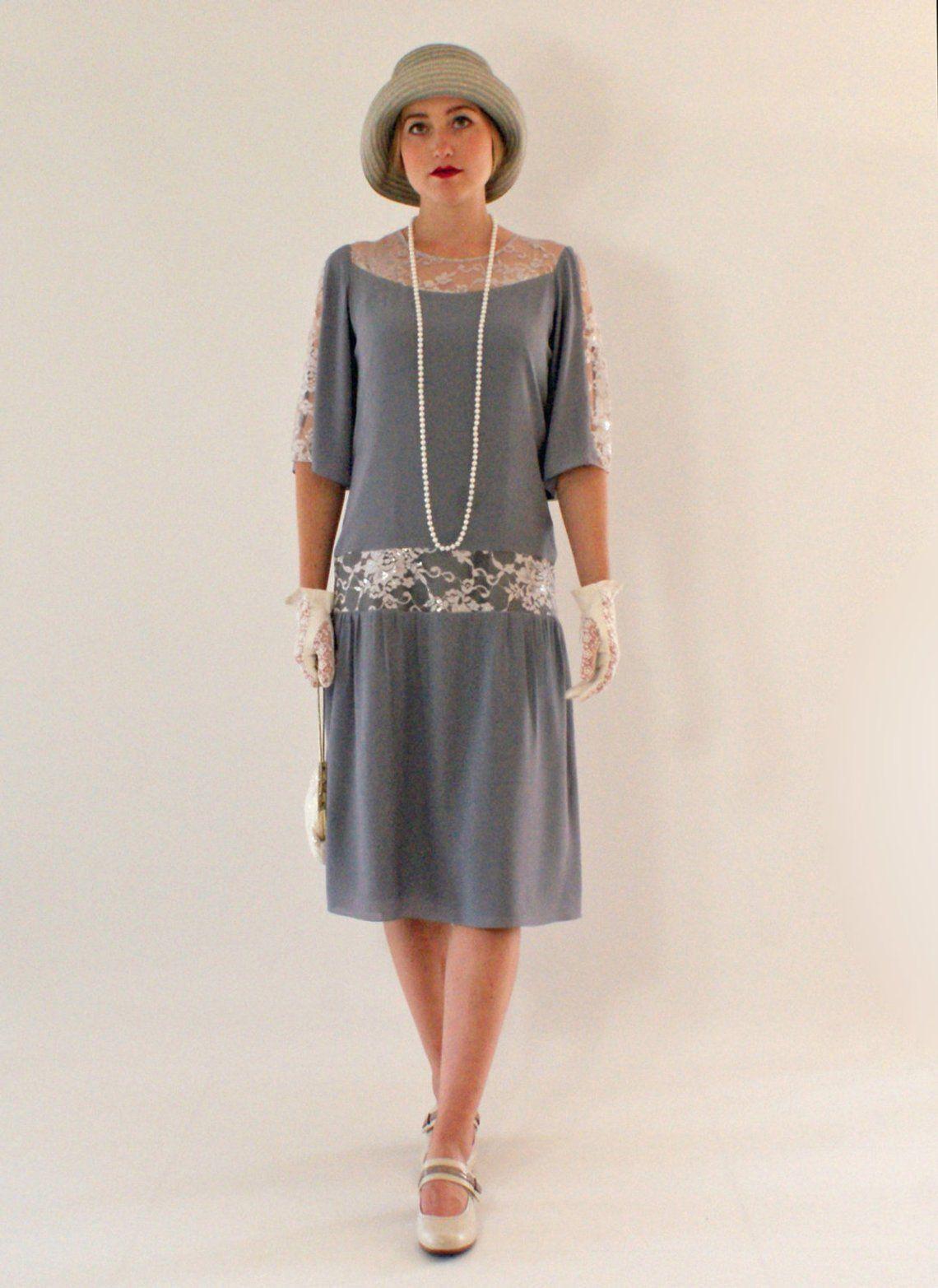 great gatsby grau kleid mit ellenbogen-Ärmel 1920er jahre