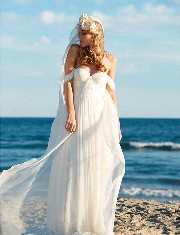 Chiffon wedding dress empire waist  Paradisewedding Womenus Off Shoulder Chiffon Empire Waist Beach