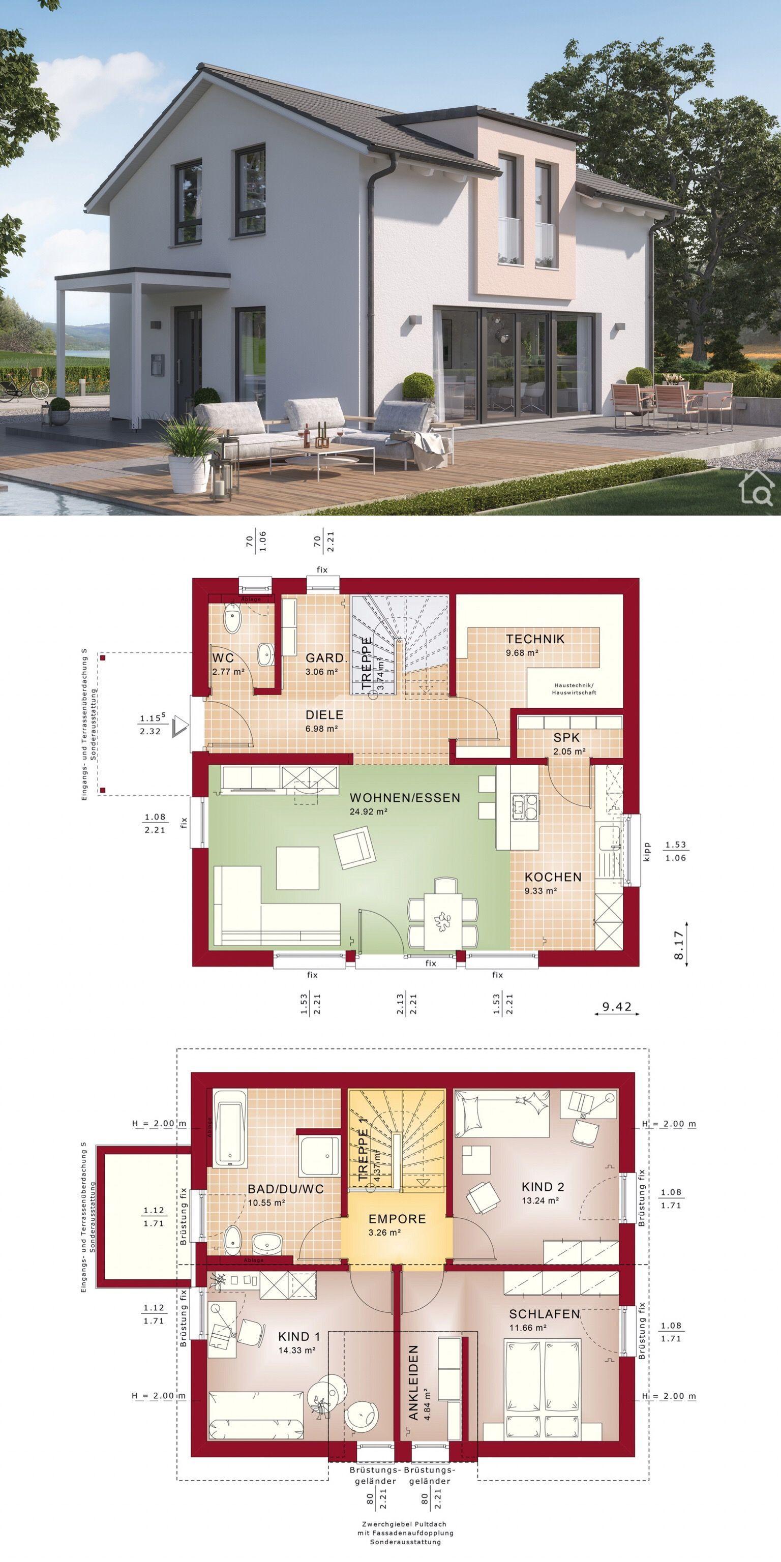 Einfamilienhaus Neubau modern mit Satteldach Architektur