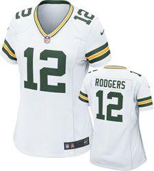 Aaron Rodgers Women's Jersey: Away White Game Replica #12 Nike Green Bay Packers Women's Jersey  http://www.fansedge.com/Aaron-Rodgers-Womens-Jersey-Away-White-Game-Replica-12-Nike-Green-Bay-Packers-Womens-Jersey-_-1499834979_PD.html?social=pinterest_pfid22-36304