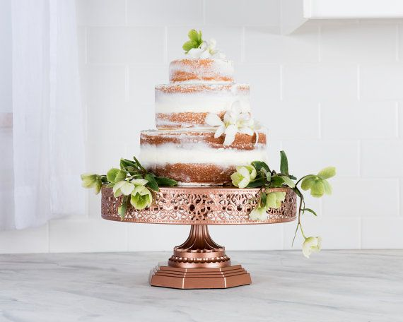 12 Inch Round Metal Wedding Cake Stand Rose Gold Wedding Cake Stand Round Wedding Cake Stands Rose Gold Cake Stand