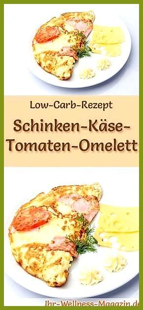 Low Carb Schinken-Käse-Tomaten-Omelett – gesundes Rezept fürs Frühstück #Carb #Fitness food box #Fit...