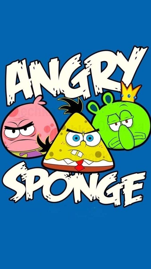 Spongebob Angry Birds edition   iPhone 5/5S wallpaper   mobile9.com