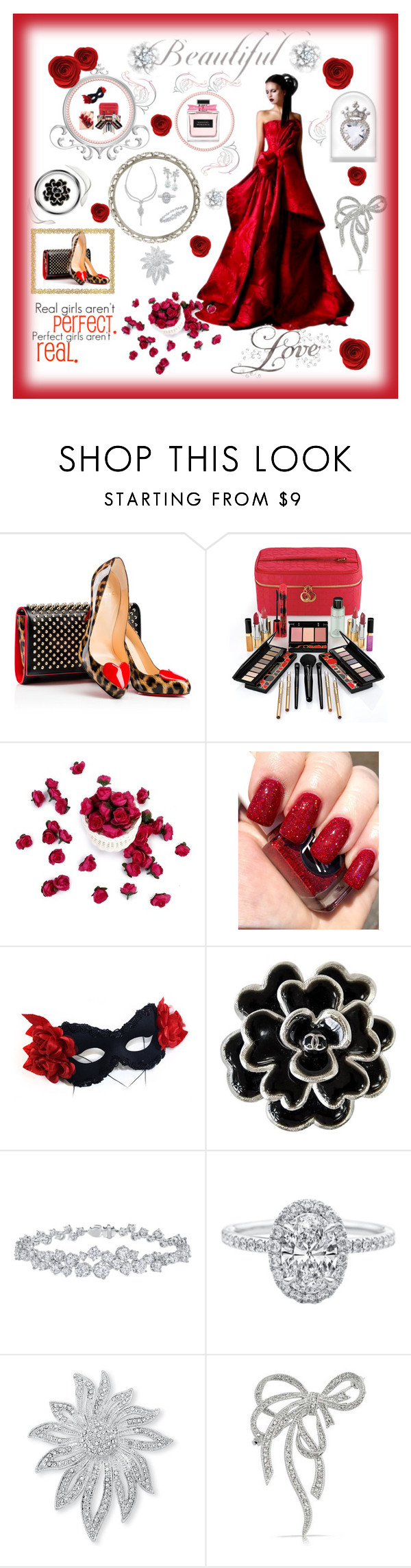 """Lady in Red Moving Ahead"" by mcronald-denise ❤ liked on Polyvore featuring Christian Louboutin, Elizabeth Arden, Masquerade, Chanel, Harry Winston, Palm Beach Jewelry and Bling Jewelry"