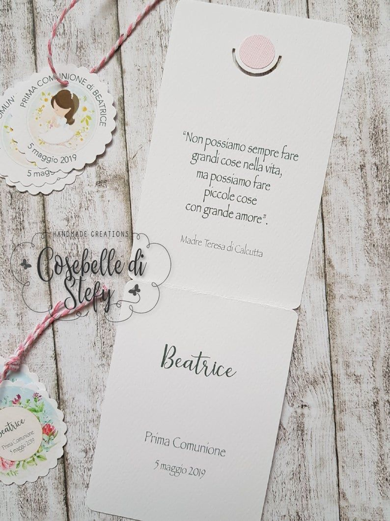 First Communion Set Mod Praying Girl Invitation Place Card And Round Tags For Favors Handmade Confirmation Invitations Handmade Envelopes Communion Sets