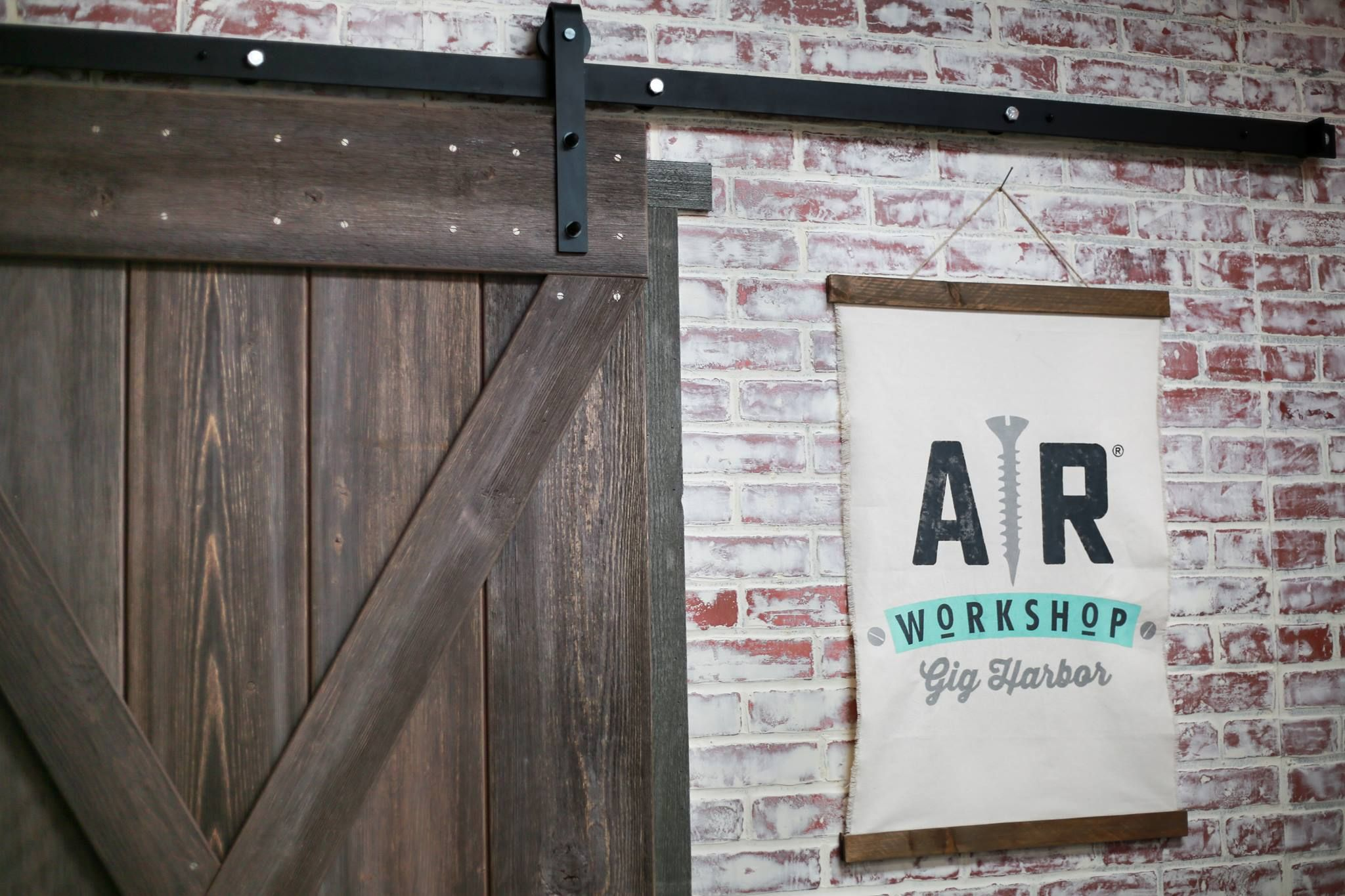Reclaimed Wood X Brace Barn Door On Black Classic Sliding Hardware