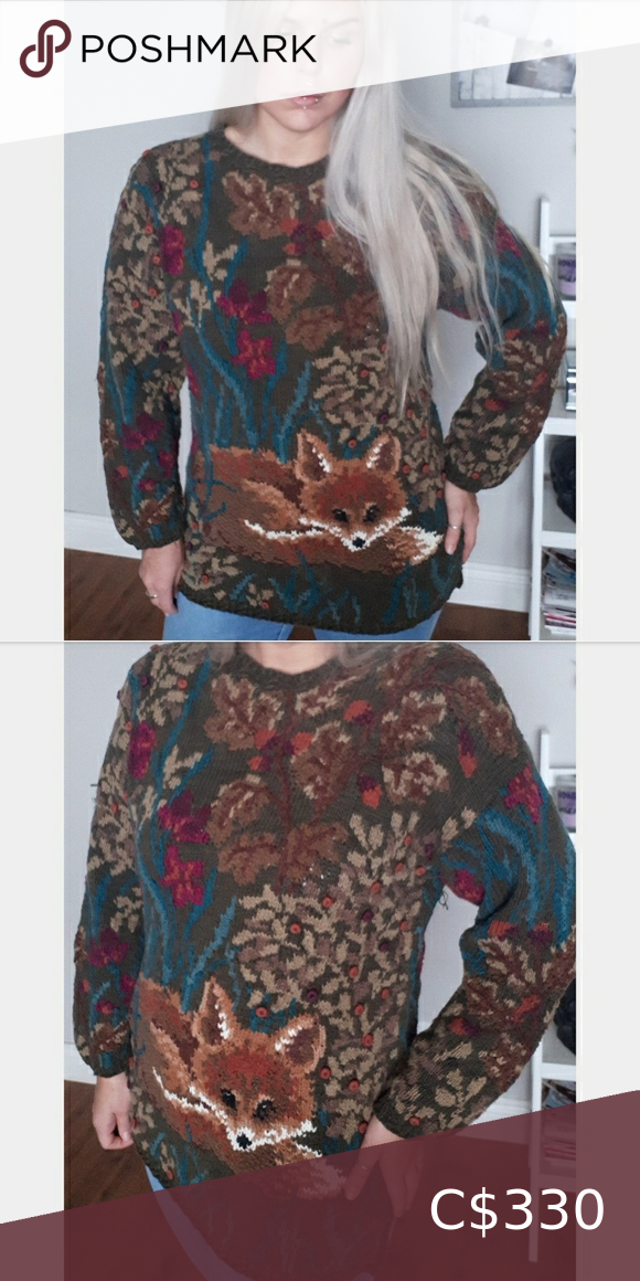 Beautiful Vintage Fox Hand Knitted Garment