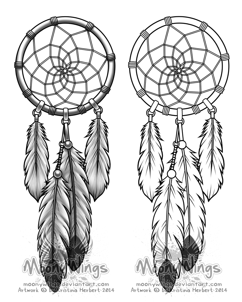 Kleurplaat tekening sjabloon dessin patroon for Dream catcher tattoo template
