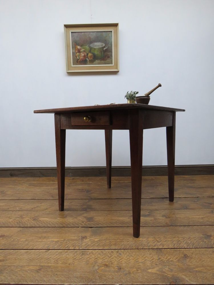 Antique french chestnut kitchen table with drawer small