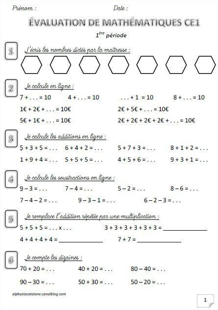 Evaluation de math matiques ce1 p riode 1 les alphas de lacatalane ce1 valuations math - Evaluation ce2 multiplication a imprimer ...