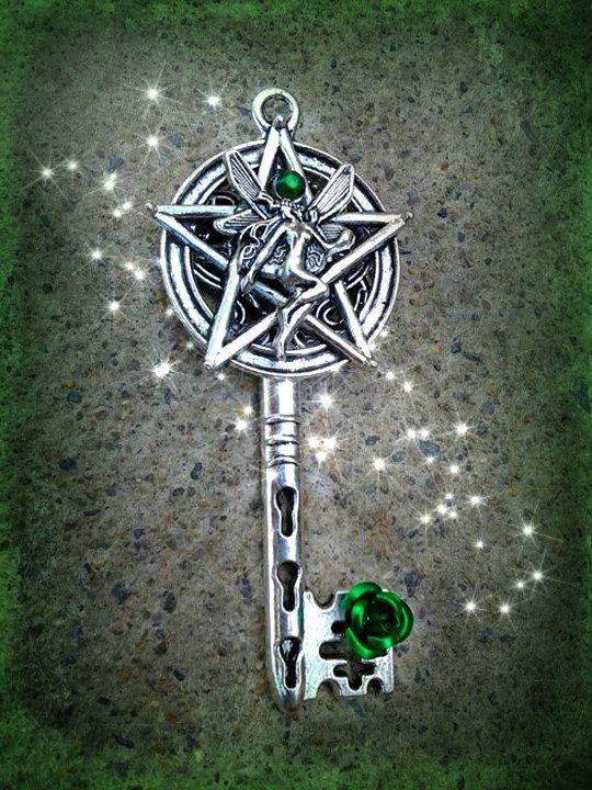 Pentacle Fairy Fantasy Key Green by ArtbyStarlaMoore on Etsy, $17.00