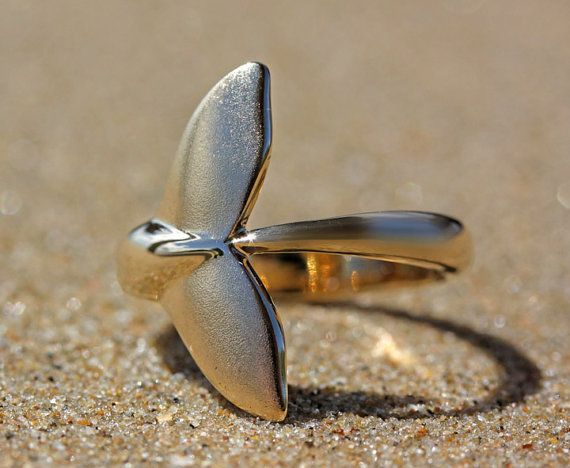 Humpback Whale Tail Ring - Free Custom Sizing, Sterling Silver or 9 Carat Gold