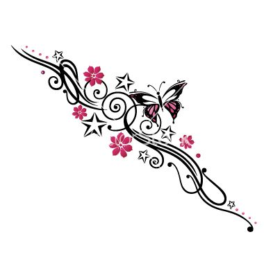 Tribal Flower Butterfly Tattoo Style Vector Image On Vectorstock Butterfly Tattoo Feminine Tattoos Tattoos For Women Flowers