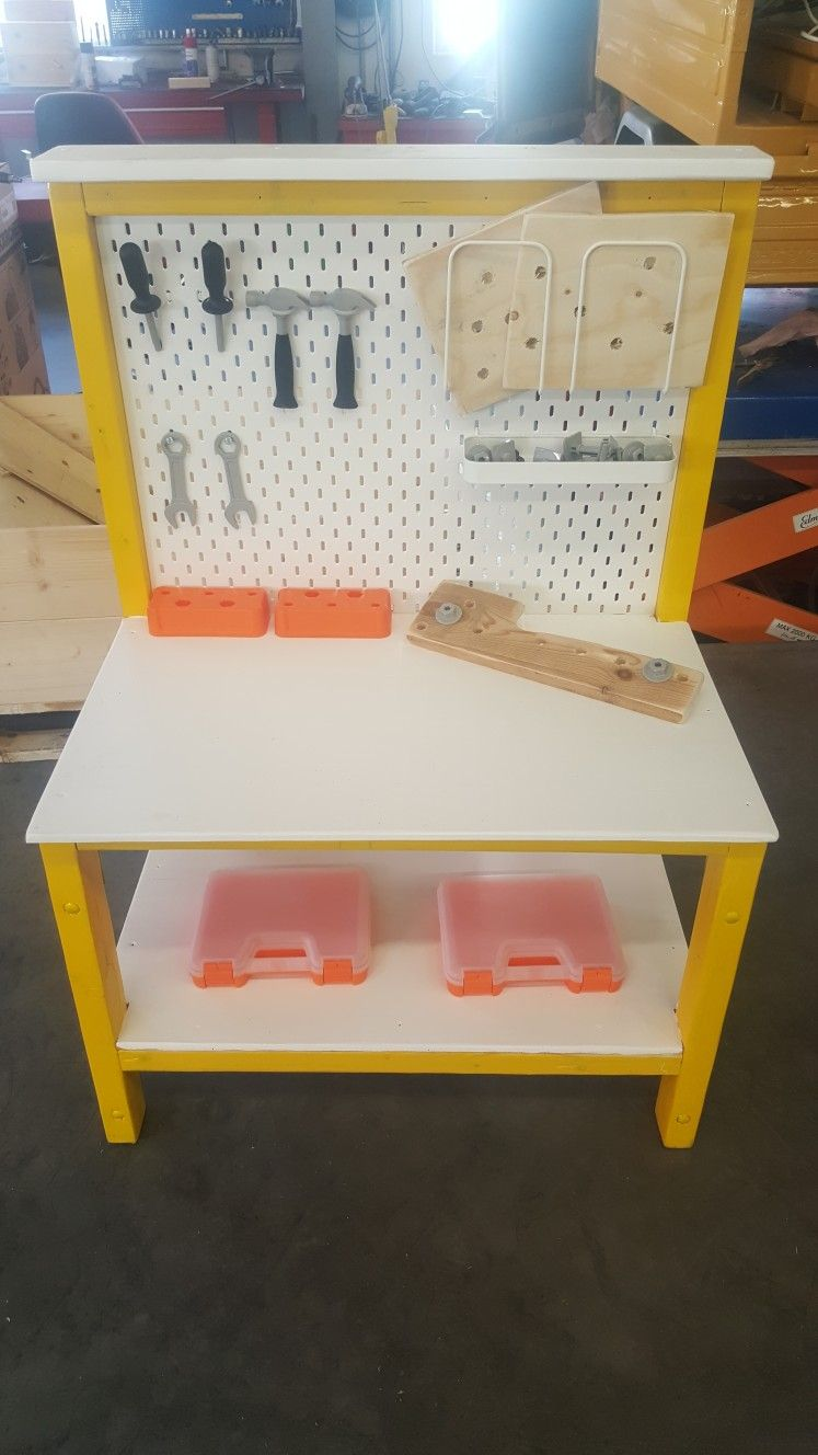 Pleasant Diy Kids Workbench Pinboard From Ikea Work Bench Ideas Gmtry Best Dining Table And Chair Ideas Images Gmtryco