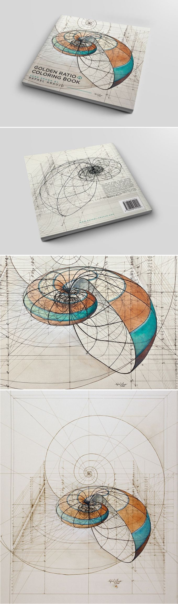 Coloring Book Celebrates Mathematical Beauty Of Nature With Hand Drawn Golden Ratio Illustrations How To Draw Hands Coloring Books Geometric Art